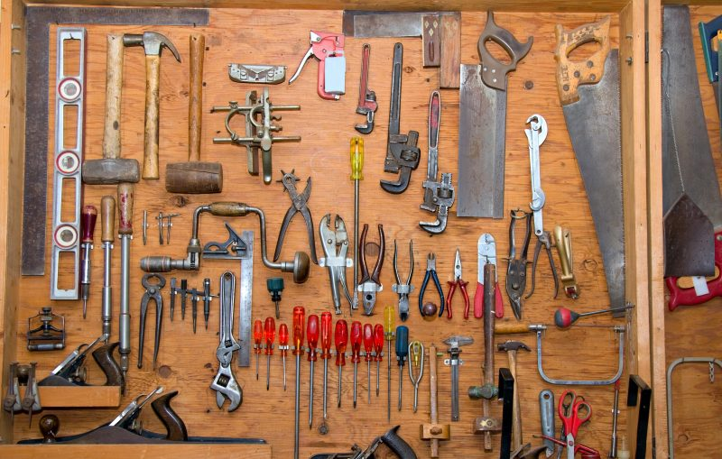 Woodworking tools in a storage shed