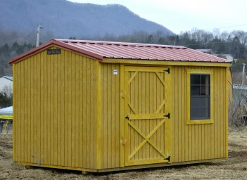 red garden storage shed